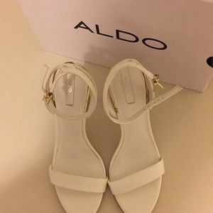 Aldo Shoes - White Aldo Lovarema Sandal with gold retail
